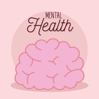 Geestelijke gezondheid met hersenpictogram van geest en menselijk thema