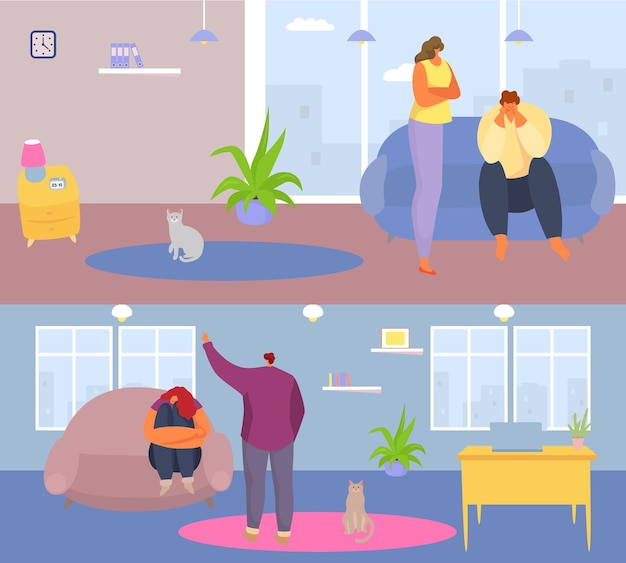 Geestelijke gezondheid psychologisch familieprobleem, banner mensen karakter stress depressie vloeken platte vectorillustratie, huis controverse. concept mentaal emotionele kwestie, conversie schreeuwen.