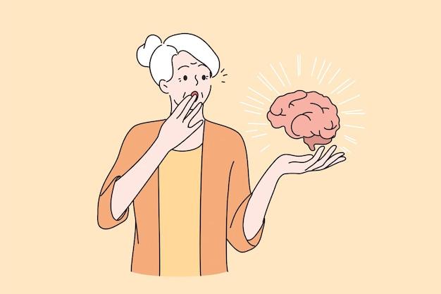 Geestelijke gezondheid van ouderen concept