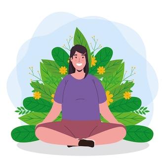 Geestelijke gezondheid van vrouw die met bladeren mediteert