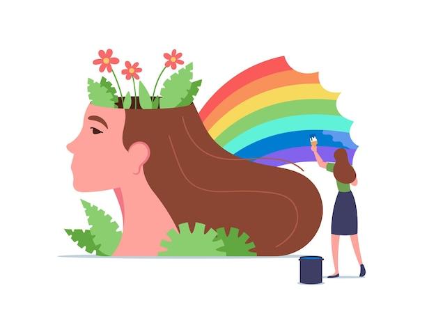 Geestelijke gezondheid, wellness, hersenbehandelingsconcept. uiterst klein vrouwenkarakter die regenboog schilderen bij reusachtig vrouwelijk hoofd. psychologische ondersteuning, gezonde geest, positief denken. cartoon mensen vectorillustratie