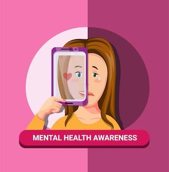 Geestelijke gezondheid ziekte bewustzijn met smartphoneconcept in cartoon afbeelding