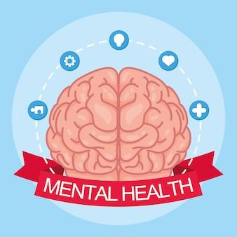 Geestelijke gezondheidsdag kaart met hersenen en stel pictogrammen in lint frame