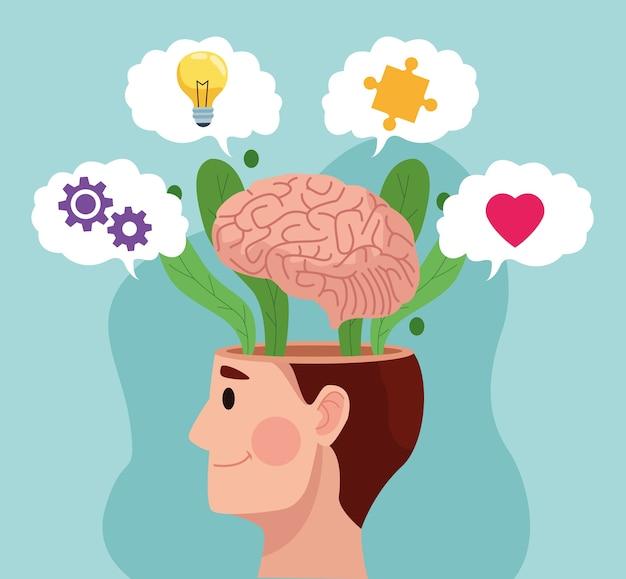 Geestelijke gezondheidsdag man profiel en hersenen met vaste items