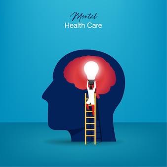Geestelijke gezondheidszorg. gespecialiseerde arts werkt om psychologietherapie te geven. klein mensenkarakter met ladderontwerp.