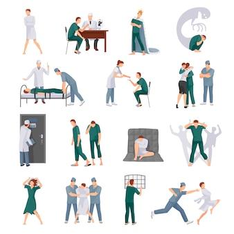 Geestelijke ziektepictogrammen die met gekke mensen en medisch personeel in diverse situaties geïsoleerde vector worden geplaatst i