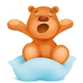 Geeuwende teddybeer cartoon karakter zittend op kussen.