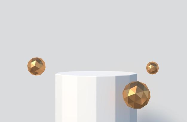 Gefacetteerd podium voor productpresentatie podiumpodium met gouden facetbollen