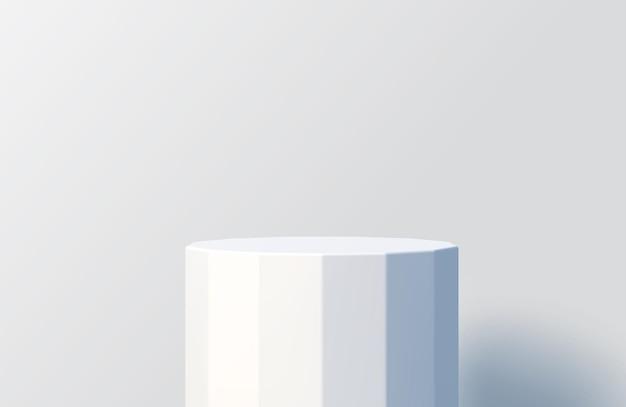 Gefacetteerd wit podium voor productpresentatie minimale scène met podiumpodium