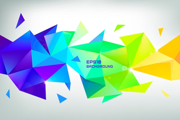 Gefacetteerde 3d kristal kleurrijke vorm, banner, horizontale oriëntatie. laag poly-object