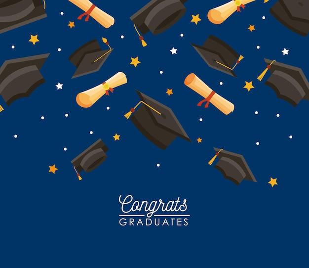Gefeliciteerd afgestudeerden hoedenpatroon