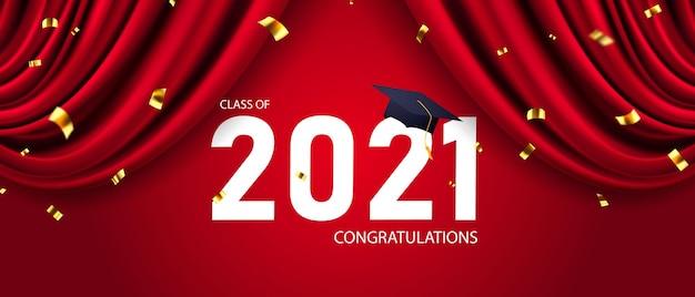 Gefeliciteerd afgestudeerden klasse van 2021, banner vectorillustratie en ontwerp voor posterkaart,