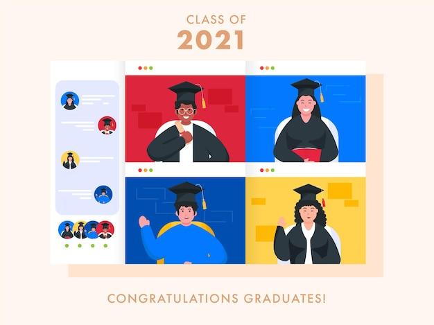 Gefeliciteerd afgestudeerden klasse van 2021 gebaseerd posterontwerp
