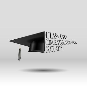 Gefeliciteerd afgestudeerden klasse vector sjabloon voor afstuderen ontwerp partij jaarboek voor middelbare school