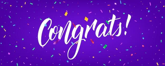 Gefeliciteerd banner met confetti en congrats belettering