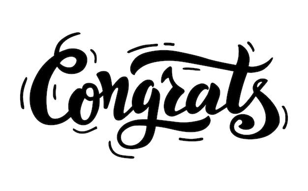 Gefeliciteerd belettering handgeschreven moderne kalligrafieborstel geschilderde letters inspirerende tekst