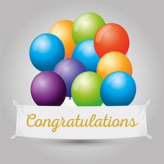 Gefeliciteerd evenement met ballonnen decoratie om te feesten