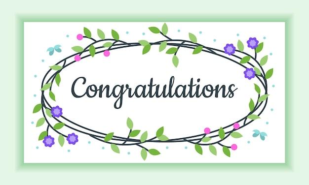 Gefeliciteerd floral frame greeting card, absoluut mooi en charmant