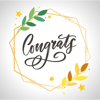 Gefeliciteerd gefeliciteerd kaart belettering kalligrafie tekstpenseel