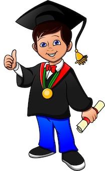 Gefeliciteerd jonge jongen afgestudeerd