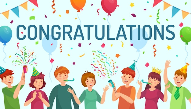 Gefeliciteerd kaart met kinderen vieren