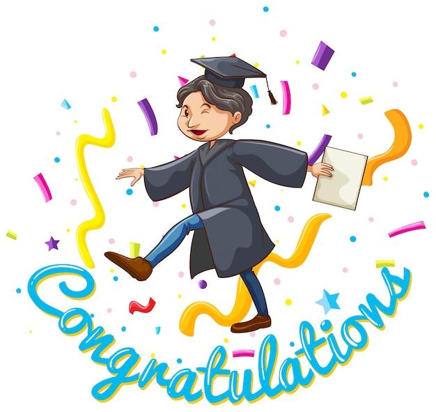 Gefeliciteerd kaart sjabloon met man holding degree
