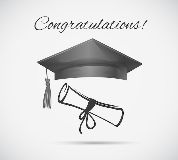 Gefeliciteerd kaartsjabloon met afstuderen cap