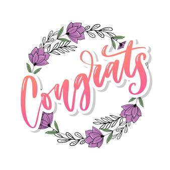 Gefeliciteerd met de hand geschreven belettering voor gefeliciteerd kaart, wenskaart