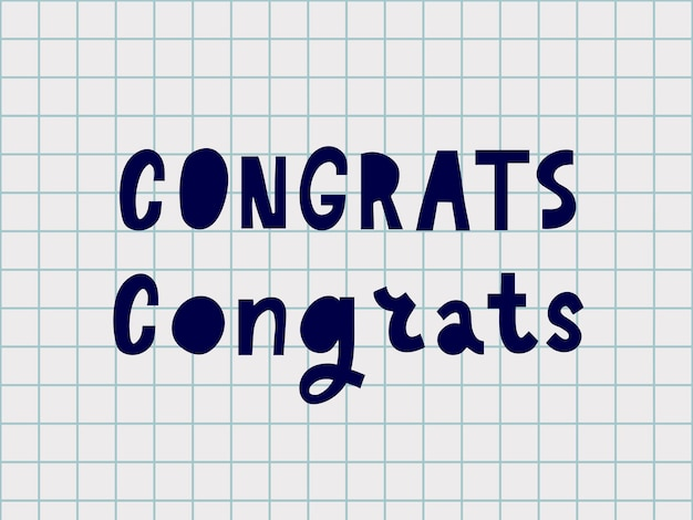 Gefeliciteerd met de handgeschreven letters voor felicitatieskaart, wenskaart, uitnodiging, poster en print. moderne borstelkalligrafie. geïsoleerd op achtergrond. vector illustratie.