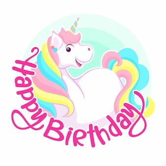 Gefeliciteerd met je verjaardag. lachende kleurrijke eenhoorn