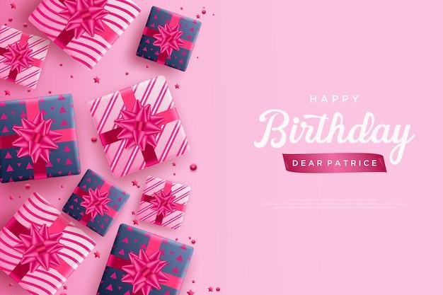 Gefeliciteerd met je verjaardag met een paar geschenkdozen aan de linkerkant van de achtergrond