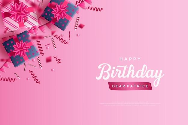 Gefeliciteerd met je verjaardag met geschenkdoosdecoratie in de bovenhoek