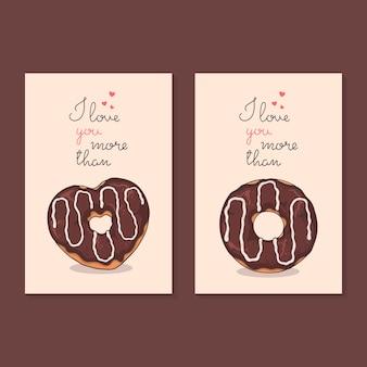 Gefeliciteerd met valentijnsdag. kaarten met donuts.