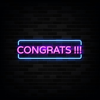 Gefeliciteerd neon teken illustratie