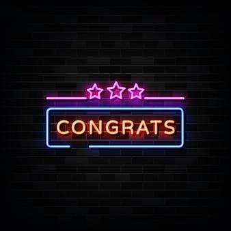 Gefeliciteerd neonreclames. sjabloon neon teken