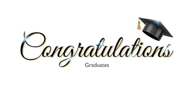 Gefeliciteerd ondertekenen voor afstuderen met een zwarte pet van de afgestudeerde universiteit of hogeschool
