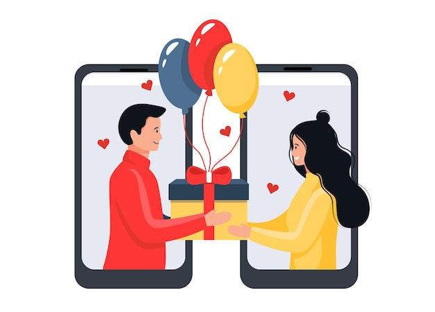 Gefeliciteerd online. jonge man geeft een cadeau aan een meisje in een smartphone. zelfisolatie concept. platte cartoon stijl