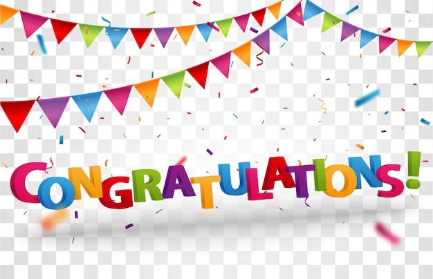 Gefeliciteerd ontwerp letters met kleurrijke confetti