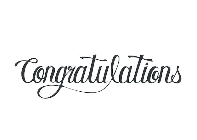 Gefeliciteerd woord typografie ontwerp illustratie