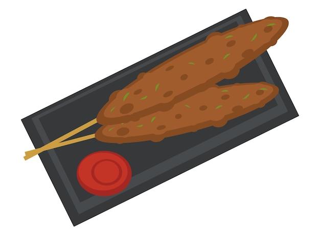 Gefrituurd vlees op houten stok. traditioneel japans of chinees eten geserveerd met ketchup of bbq-saus. zeevruchten nationale gerechten en maaltijd van oosterse landen. thuis koken. vector in vlakke stijl