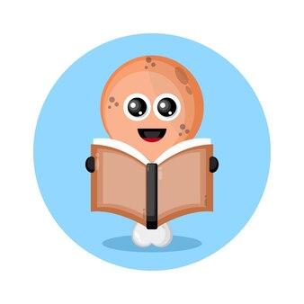 Gefrituurde kippendijen die een boek lezen schattig karakter