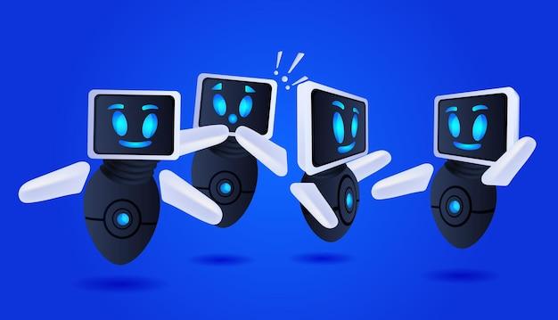 Gefrustreerde robots cyborg met uitroeptekens help support service faq probleem kunstmatige intelligentie technologie concept horizontale vectorillustratie