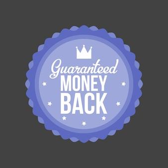Gegarandeerd geld terug blauwe badge vectorillustratie.