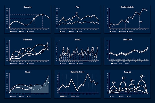 Gegevens grafische grafieken. de wiskunde coördineert grafiek, de grafieken van de groeigrafiek en de illustratiereeks van bedrijfs infographic grafieken