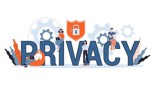 Gegevens privacy concept. idee van veiligheid en bescherming tijdens het gebruik van internet voor communicatie. firewall, slot en informatiebeveiliging. computer bewaker. illustratie
