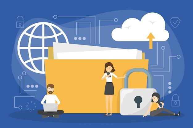 Gegevens privacy concept. idee van veiligheid en bescherming tijdens het gebruik van internet voor communicatie. firewall, slot en informatiebeveiliging. digitale map. illustratie