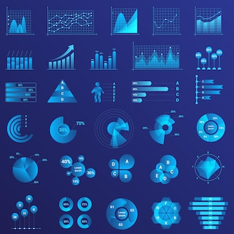 Gegevensanalyse, analyseren van infographicsstatistieken, grafieken, geplaatste diagrammen