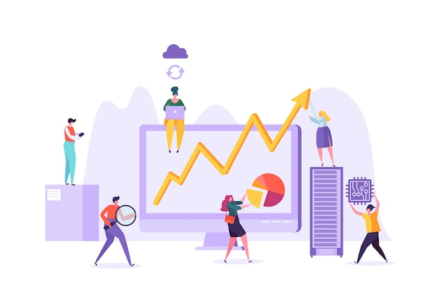 Gegevensanalyse bedrijfsconcept. marketingstrategie, analyse met personagekarakters die financiële statistieken analyseren gegevensgrafieken op computer.