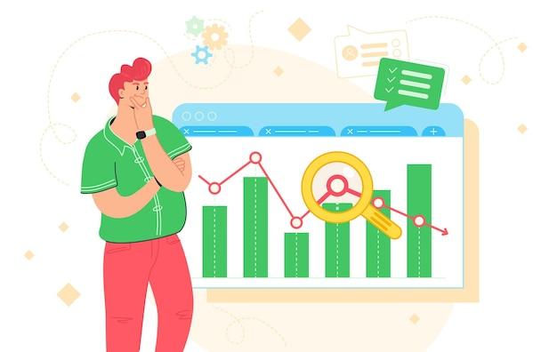 Gegevensanalyse, bedrijfsonderzoek en rapport. platte vectorillustratie van twijfelde man die in de buurt van financiële grafiek staat en de grafiek analyseert. roodharige karakter voor het volgen van markttrends en infographic