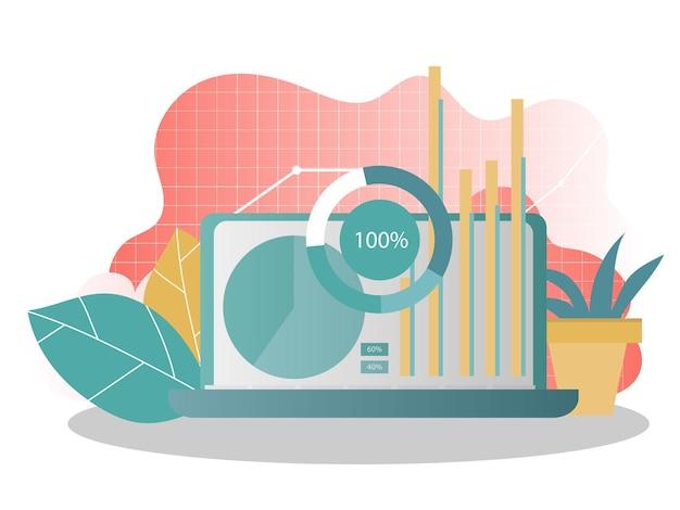 Gegevensanalyse concept. kan gebruiken voor webbanner, infographics. creatieve vectorillustratie voor spandoek, poster, website in moderne kleuren